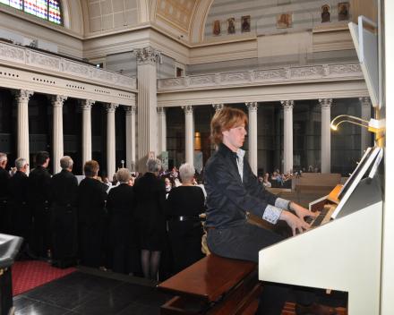 koorreis berlijn, concert met Wim Magre en Wilbert Magre op het orgel